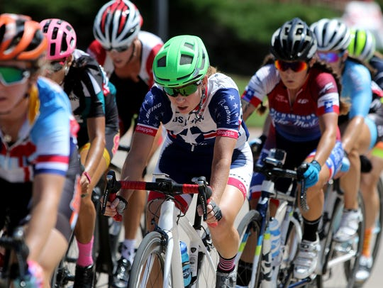 Racers compete in the Women Pro 1-2-3 criterium Sunday,