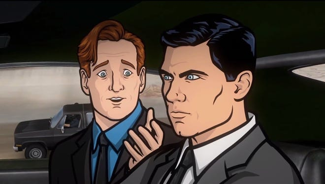 Conan gets animated and goes on a joyride with secret agent Sterling Archer.