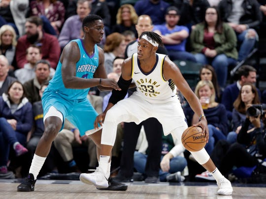 Indiana Pacers center Myles Turner (33) drives the