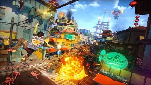 """This photo provided by Sony shows a scene from the video game, ?Sunset Overdrive."""" The recent success of """"Watch Dogs"""" and """"Titanfall"""" is paving the way for several new video games that don't contain numbers in their titles to be hyped at next week's Electronic Entertainment Expo,  the gaming industry's annual trade show held on June 10-12, 2014, in Los Angeles. With anticipation mounting for original games like ?Destiny,? ?The Order: 1886? and ?Sunset Overdrive,? have game makers finally discovered the cure for sequelitis?"""