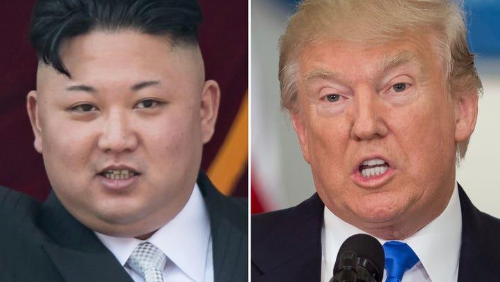 Profile photos of Kim Jong Un (left) and President