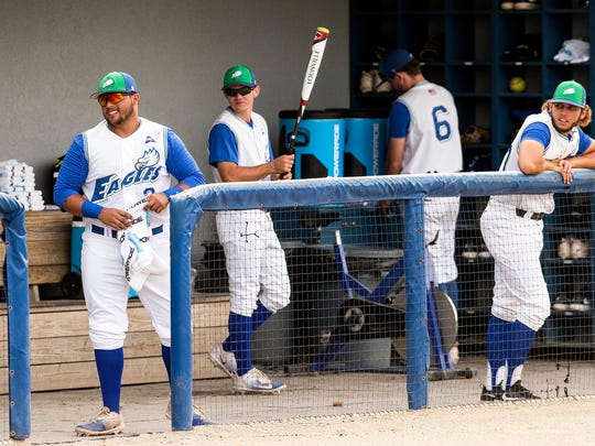 Florida Gulf Coast University's Nick Rivera laughs with teammates before a game in Fort Myers, Fla., on Saturday, May 13, 2017.