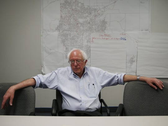 Sen. Bernie Sanders, I-Vt., speaks with reporters after