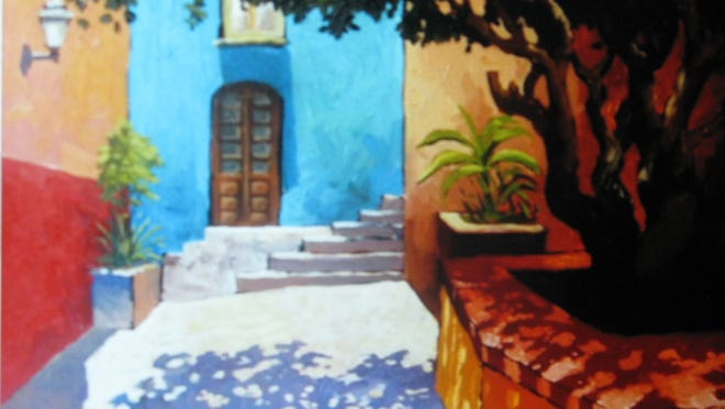 A traditional Mexican scene with its bright colors and inside patio. The artist is Efren Gonzalez, courtesy of the Galleria Dante in Puerto Vallarta, Mexico.
