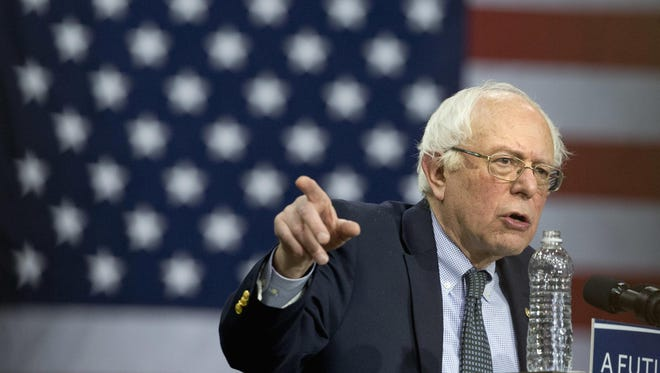 In this file photo, Democratic presidential candidate, Sen. Bernie Sanders, I-Vt. speaks at a campaign rally in Chicago.