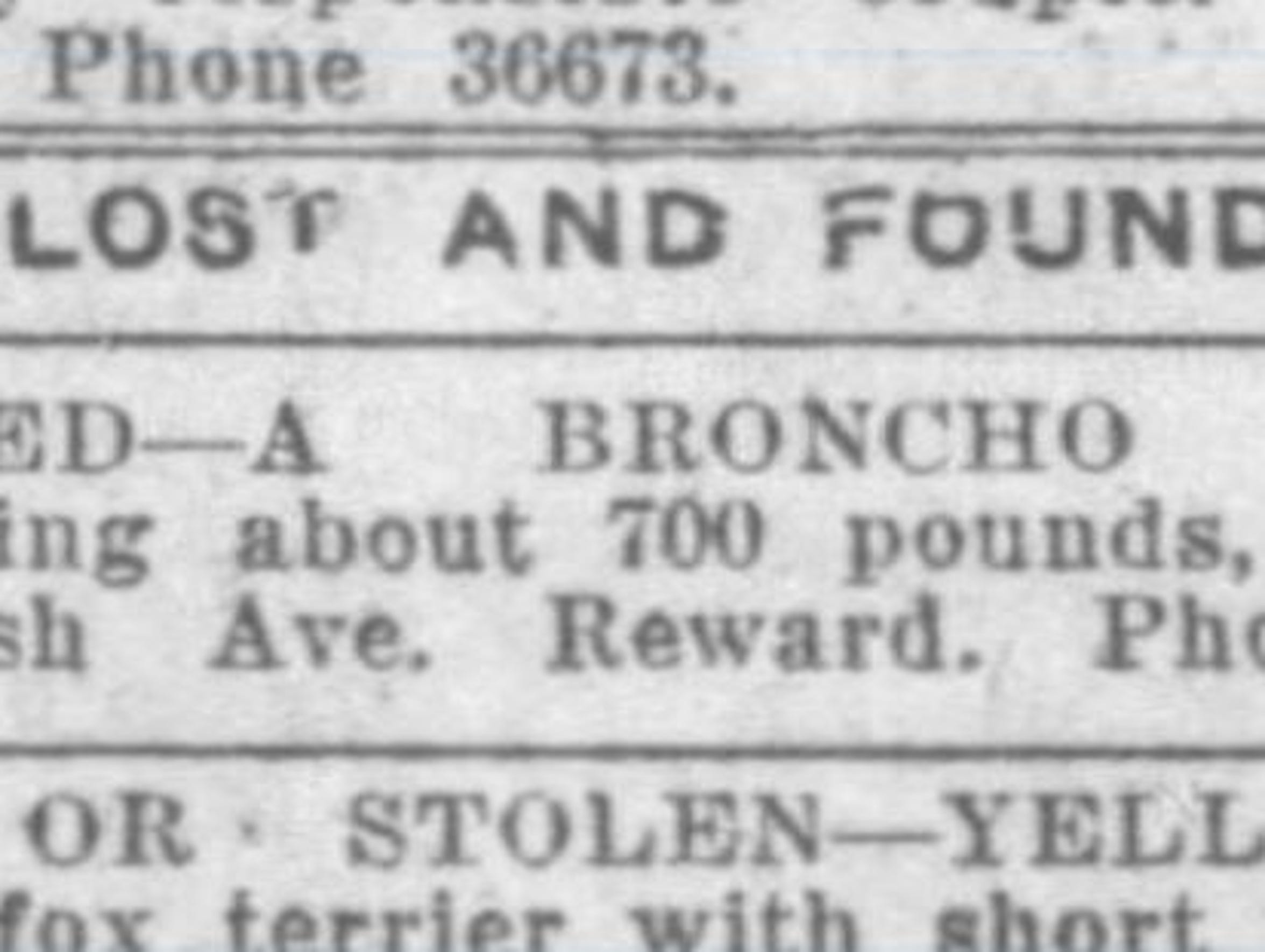 This lost and found ad, from the March 24, 1920 Journal