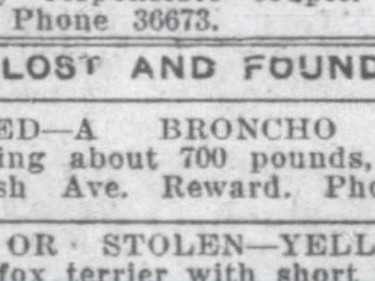 This lost and found ad, from the March 24, 1920 Journal & Courier, asked for help finding a broncho horse that had strayed from home on Wabash Avenue in Lafayette.
