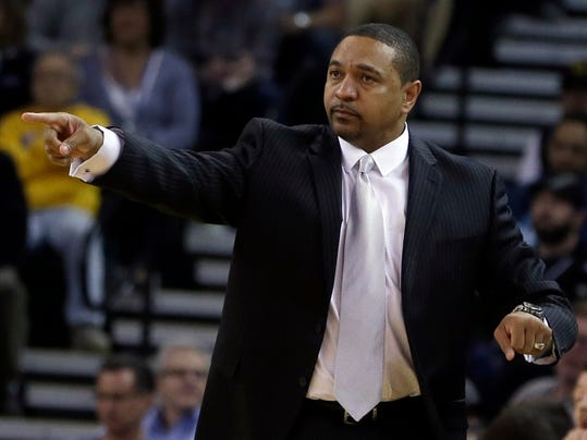 Golden State Warriors coach Mark Jackson gestures on the sideline during the first half of the Warriors' NBA basketball game against the Orlando Magic on Tuesday, March 18, 2014, in Oakland, Calif. (AP Photo/Ben Margot)