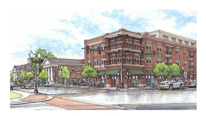 Rendering of the new mixed-use project slated for downtown Franklin. Harpeth Associates announced the more than $90 million development on Oct. 14, 2016.