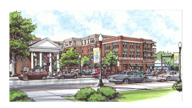 Renderings of the proposed downtown Harpeth Square development in Franklin.
