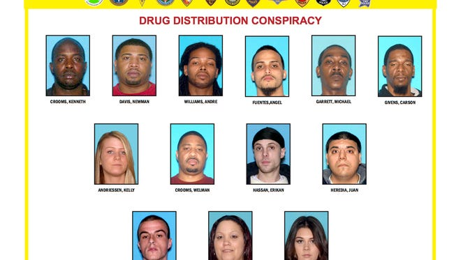 Authorities say these people were arrested as part of an investigation into a Freehold Borough drug distribution ring.