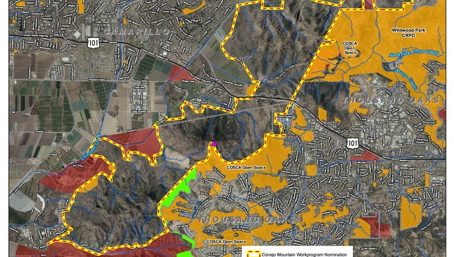 A map of the Conejo Mountain area recognized as important habitat by the Santa Monica Mountains Conservancy.