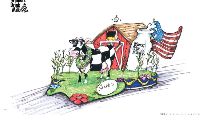 An artist's rendering of American Dairy Association Indiana's 500 Festival Parade float.
