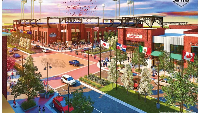 """A rendering of the """"stadium district"""" of the Rocky Mountain Sports Park, a $225 million facility planned for the north side of Windsor."""