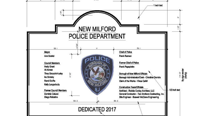 The proposed dedication plaque to be placed on New Milford's new police station.