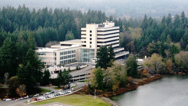 An aerial view of Naval Hospital Bremerton.