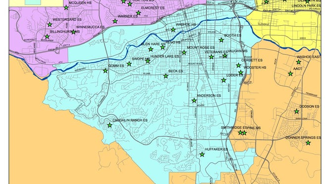 A map of Washoe County School District's trustee District D.