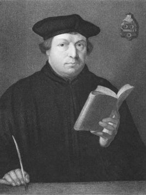 Martin Luther on engraving from the 1850s. Priest and theology professor. Leader of the great religious revolt of the 16th century in Germany.