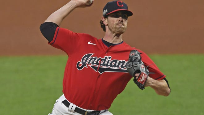 Indians ace and 2020 American League Cy Young Award winner Shane Bieber will again be expected to lead a strong starting rotation. [Associated Press]