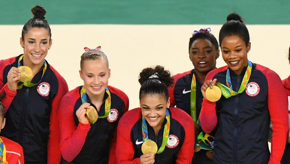From left, Aly Raisman, Madison Kocian, Laurie Hernandez,