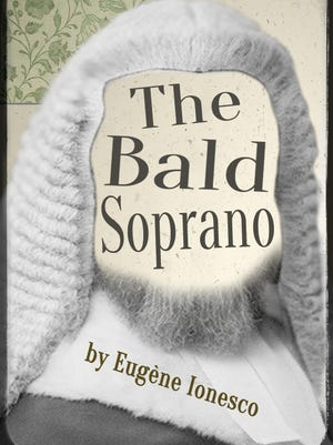 """A promotional poster for Ghostbird Theatre Company's comedy, """"The Bald Soprano."""""""