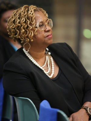 Wilmington City Council President Hanifa Shabazz part in the listening tour conducted by city officials Thursday at the Delaware History Museum before evading questions about a $40,000 grant.