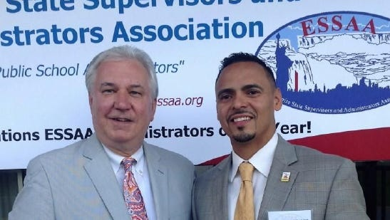 Mount Vernon High School principal Ron Gonzalez, right, was named Westchester County's administrator of the year.