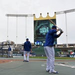 Kansas City Royals players take batting practice during workouts the day before game one of the 2015 World Series against the New York Mets at Kauffman Stadium.