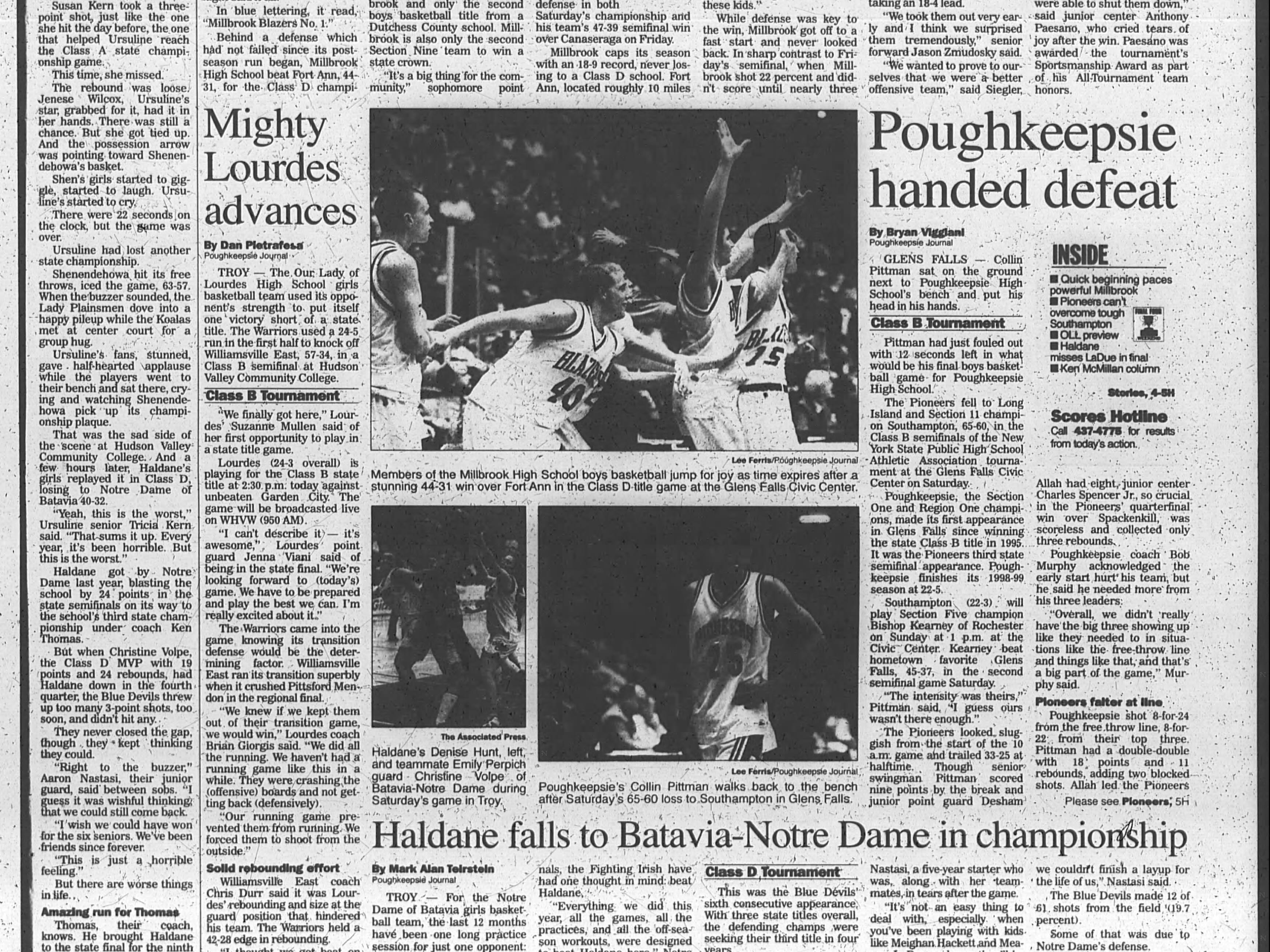 Journal clip highlighting Millbrook's New York State Class D championship.