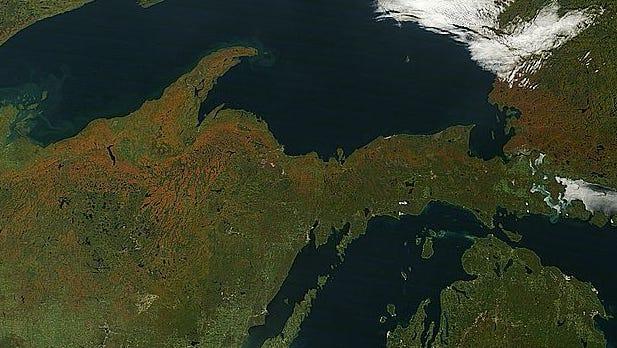 Michigan's Upper Peninsula as photographed by NASA's Terra satellite.
