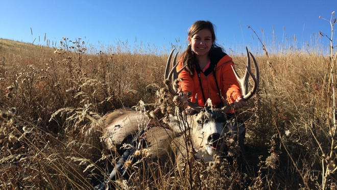 Abigail Gray took this five-point mule deer during this year's youth hunt.