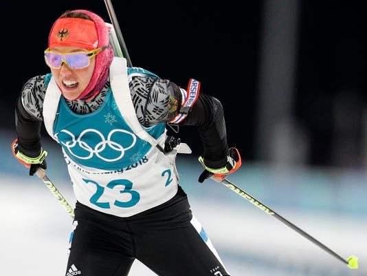 Gold medalist Laura Dahlmeier, of Germany, skies during the women's 7.5km biathlon sprint at the 2018 Winter Olympics in Pyeongchang, South Korea, Saturday, Feb. 10, 2018. (AP Photo/Andrew Medichini)