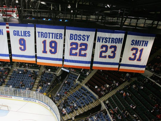 Banners with the retired jersey numbers of New York