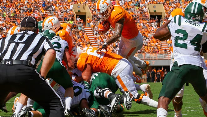 Tennessee Volunteers running back Jalen Hurd (1) jumps for a touchdown against the Ohio Bobcats on Sept. 17, 2016.