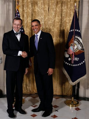 President Obama greets Estonian President Toomas Hendrik Ilves at the US Ambassador's residence in Prague in 2010.