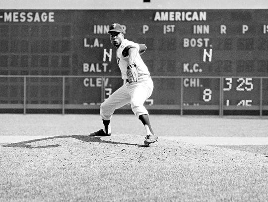 """Jim """"Mudcat"""" Grant of the Minnesota Twins pitches against"""