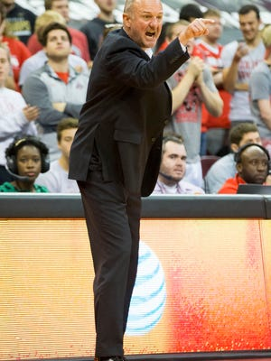 Ohio State Buckeyes head coach Thad Matta yells from the sidelines against the Mount St. Mary's Mountaineers at Value City Arena.
