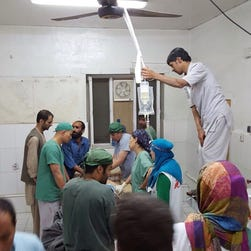 An handout provided by Doctors Without Borders shows surgery activities in one of the remaining parts of the hospital in Kunduz in the aftermath of the bombings, Kunduz, Afghanistan, October 3, 2015.