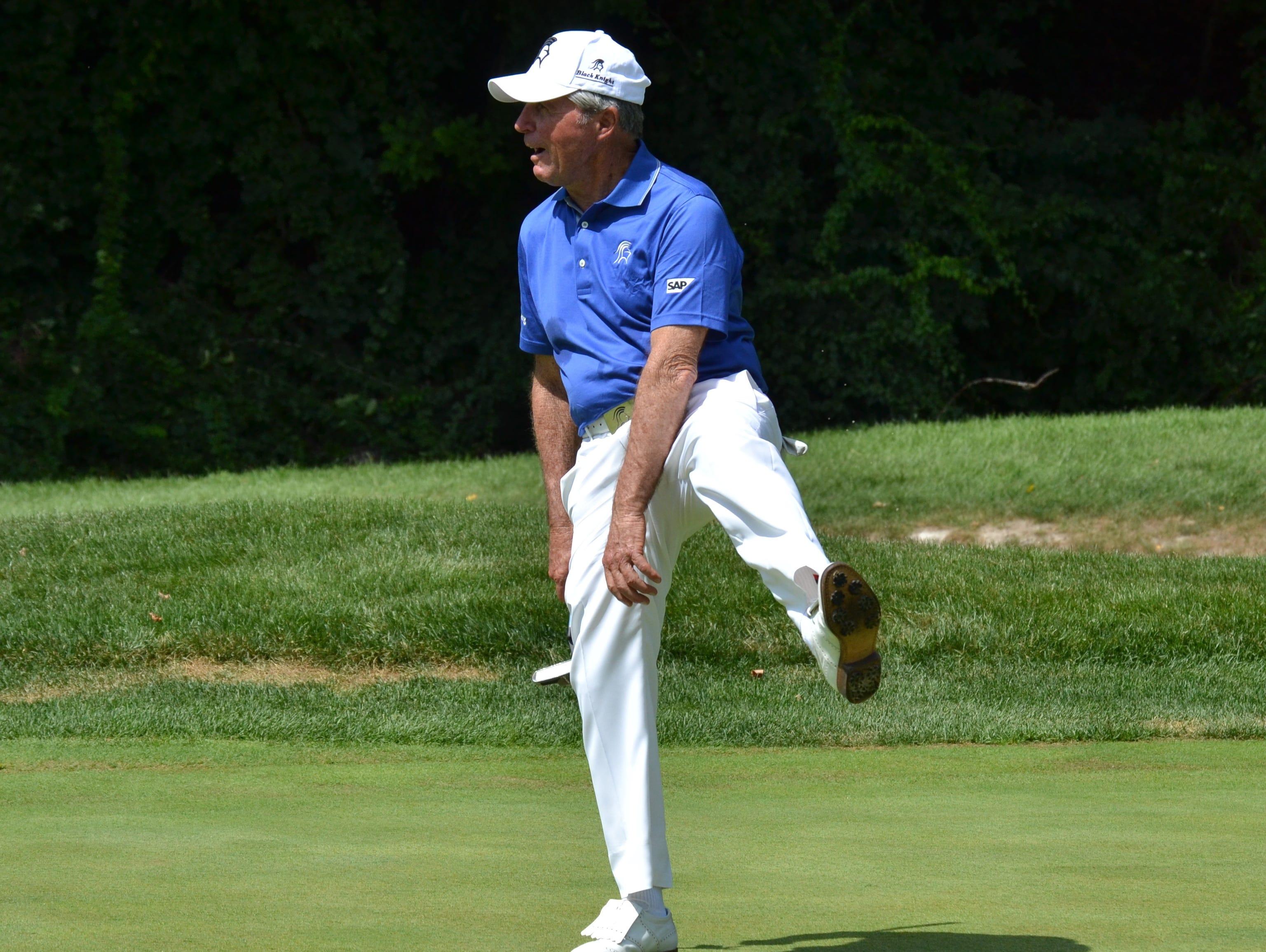 Gary Player reacts to a putt on the fourth green at GlenArbor that stopped one roll short of the hole Monday, August, 29, 2016. The 80-year-old was playing in his namesake invitational tournament, which benefits a number of children's charities.
