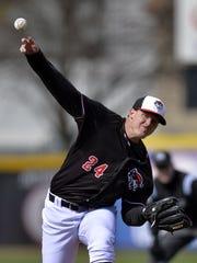 Erie SeaWolves pitcher Austin Kubitza delivers against