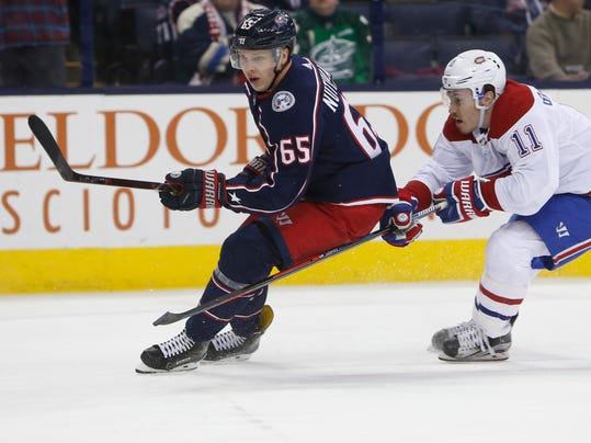 Montreal Canadiens' Brendan Gallagher, right, chases Columbus Blue Jackets' Markus Nutivaara, of Finland, during the first period of an NHL hockey game Monday, March 12, 2018, in Columbus, Ohio. (AP Photo/Jay LaPrete)