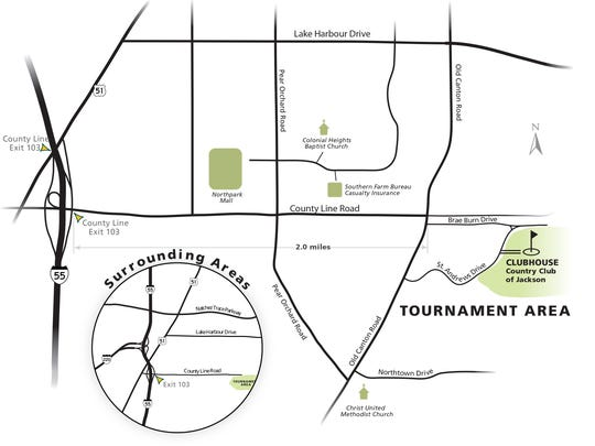 Map of area surrounding Sanderson Farms Championship