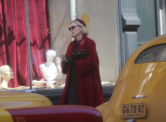"Oscar-winning actress Cate Blanchett walks down Fourth Street during the filming of the movie ""Carol"" on the corner of 4th Street and Central Avenue, Downtown."
