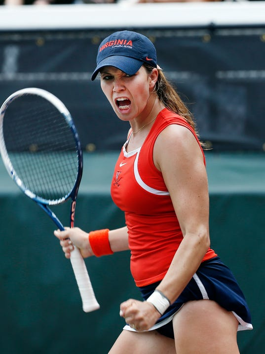 Virginia's Danielle Collins reacts during the final match of the NCAA women's tennis championship against California's Lynn Chi Monday, May, 26, 2014 in Athens, Ga.  (AP Photo/John Bazemore)
