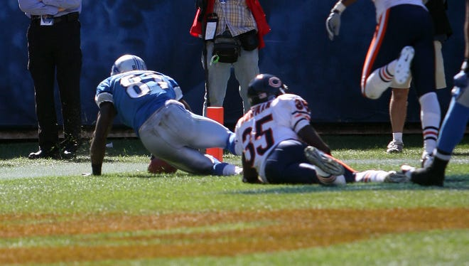 """Sept. 13, 2010: The original """"Calvin Johnson rule."""" In the season opener, Calvin Johnson caught what appeared to be the go-ahead touchdown with seconds remaining against the Bears... except he let go of the ball when he rolled over and officials called it an incomplete pass, saying he didn't """"complete the process"""" of the catch. Lions lost, 19-14."""