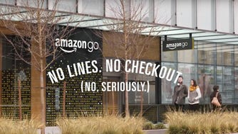 """Amazon announced its Amazon Go """"just walk out"""" store on Dec. 5, 2016. These stores allow customers to enter, grab items and then leave without ever having to go through a checkout lane. An Amazon Go app and sensors track everything the customer has taken, charging their Amazon account as they leave."""