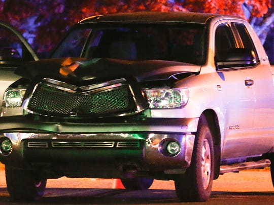 A pickup truck rests at the scene of an accident involving a pedestrian struck by a vehicle on Philadelphia Pike at Bellefonte Avenue, reported about 6:50 p.m. Thursday.