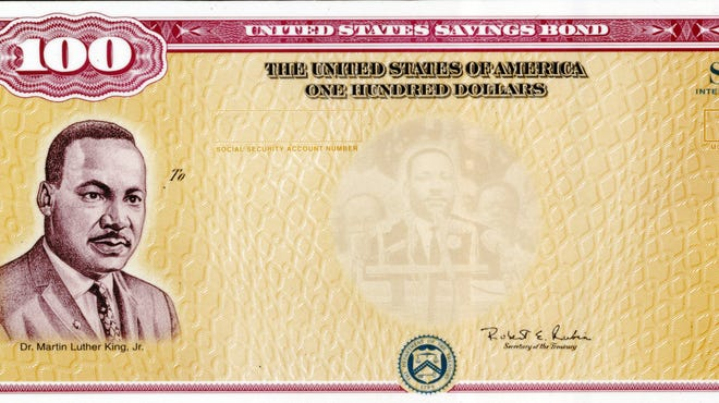 Series I Savings Bonds feature the image of Martin Luther King Jr.