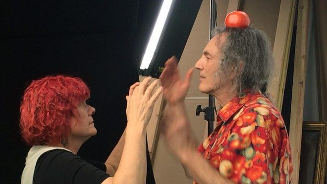 """Dick Rosemont, subject of the film """"Shirts!"""" to screen at ELFF, with Jane Rosemont, the director, on set."""