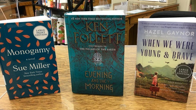 """New large-print titles at the Port Jervis Free Library include """"Monogamy"""" by Sue Miller, """"The Evening and the Morning"""" by Ken Follett and """"When We Were Young and Brave"""" by Hazel Gaynor."""